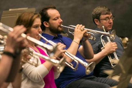 Andris Nelsons (blue shirt), music director of the BSO, practices trumpet that he played long ago for the Brass Spectacular at Tanglewood on Sunday July 2, 2017. He practices amongst BSO players and Tanglewood fellows with conductor Stephan Ashbury. Mr. Nelsons is 38 years old and originally from Latvia. lifestyle, NelsonsTrumpet(2), Brewer. Photo by Katherine Taylor for The Boston Globe
